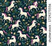 Unicorns On A Dark Background...