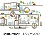 baby city map with roads ... | Shutterstock .eps vector #1729299040