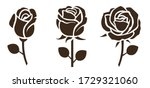 flower icon. set of decorative ... | Shutterstock .eps vector #1729321060