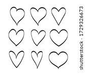 set of black hand drawn hearts. ... | Shutterstock .eps vector #1729326673