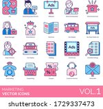 marketing icons including 4ps ... | Shutterstock .eps vector #1729337473