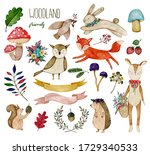 watercolor illustration with... | Shutterstock . vector #1729340533