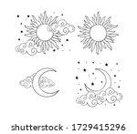 mystical boho tattoos with sun  ... | Shutterstock .eps vector #1729415296
