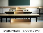 Small photo of Bavaria, Germany. May 12, 2020. Vacant chairs in an empty classroom as many schools still remain closed due to the Corona virus or are only teaching students due to sit state examinations next week.