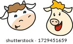 funny cow and pig faces. vector ... | Shutterstock .eps vector #1729451659