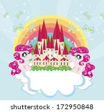 card with a cute unicorns... | Shutterstock .eps vector #172950848