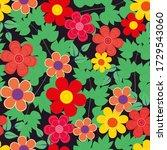 abstract flower seamless... | Shutterstock . vector #1729543060