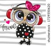 cute cartoon owl girl with pink ... | Shutterstock .eps vector #1729550620
