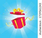 open gift box surprise presents. | Shutterstock .eps vector #1729561243