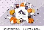 halloween sale banner with...   Shutterstock .eps vector #1729571263