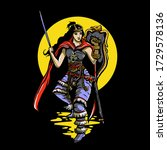 woman warrior illustration... | Shutterstock .eps vector #1729578136