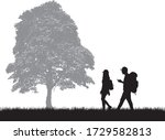 silhouettes of people with... | Shutterstock .eps vector #1729582813