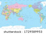 world map   pacific view asia... | Shutterstock .eps vector #1729589953