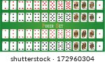 Poker set with isolated cards on green background - stock vector