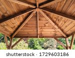 The Inside Roof Of A Wooden...