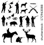 hunting silhouettes, vector, black on the white background