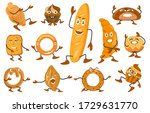 set of bread characters. wheat  ... | Shutterstock .eps vector #1729631770
