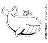 funny whale sticker. cute... | Shutterstock .eps vector #1729642513