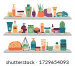a set of cosmetics for skin... | Shutterstock .eps vector #1729654093