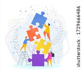 small people connect puzzle... | Shutterstock .eps vector #1729666486
