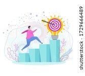 man runs up the ladder of... | Shutterstock .eps vector #1729666489