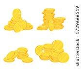 coins. heap of gold dollars.... | Shutterstock .eps vector #1729666519