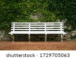 White Park Bench With Stone...