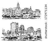 panoramic cities drawings on... | Shutterstock .eps vector #172971134