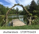 Romantic Pond With Tiny Wooden...