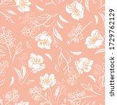 vector dusty pink botany hand...   Shutterstock .eps vector #1729762129