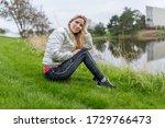woman girl sitting on a grass... | Shutterstock . vector #1729766473