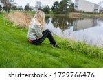 woman girl sitting on a grass... | Shutterstock . vector #1729766476