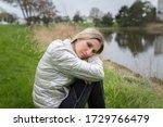 woman girl sitting on a grass... | Shutterstock . vector #1729766479