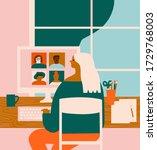 women working online at home ... | Shutterstock . vector #1729768003