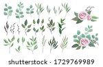 vector floral greenery... | Shutterstock .eps vector #1729769989