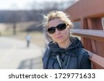 portrait of a woman with black... | Shutterstock . vector #1729771633