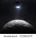 moon surface with view sunrise... | Shutterstock . vector #172981379