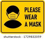 please wear a face mask...   Shutterstock .eps vector #1729832059