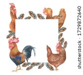 Square Frame With Hens And...