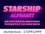 starship alphabet font. neon... | Shutterstock .eps vector #1729912999
