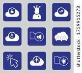 Set Of 9 Icons Such As Cloud ...