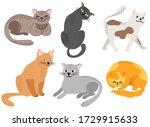 set of funny cartoon cats in... | Shutterstock .eps vector #1729915633