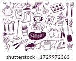 set of gardener tools in doodle ...   Shutterstock .eps vector #1729972363