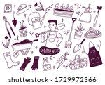 set of gardener tools in doodle ... | Shutterstock .eps vector #1729972366