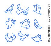 dove of peace icons set. flying ... | Shutterstock .eps vector #1729989739