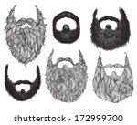 hand drawn beard set | Shutterstock .eps vector #172999700