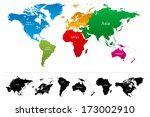 World Map With Colorful...