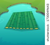 A Raft On A Lake Made Of Bambo...