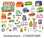 pet shop assortment  products... | Shutterstock .eps vector #1730057689