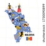 Moldova Map Flat Hand Drawn...